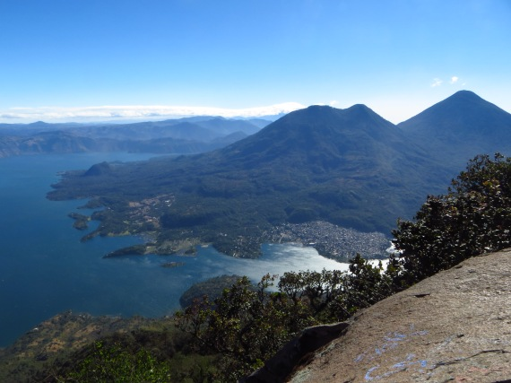 the view from the top, looking across at Volcan Toliman and Atitlan Photo Stephan Lorenz